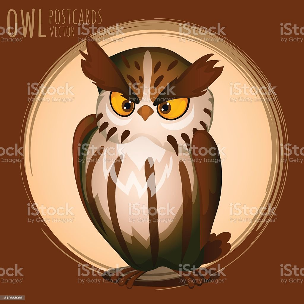 Menacing brown owl, cartoon series vector art illustration