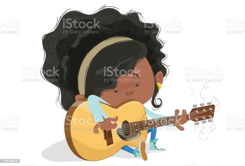 A menina e o violão vector art illustration