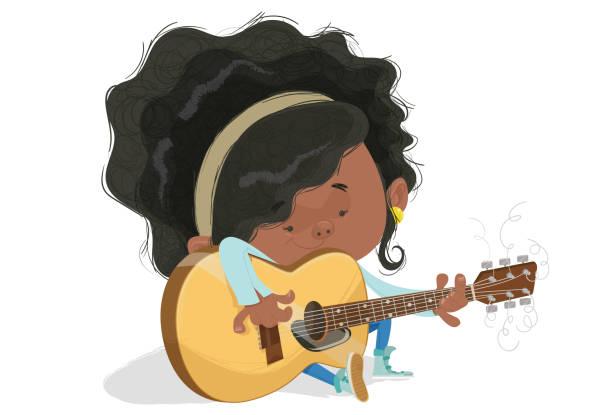 ilustrações, clipart, desenhos animados e ícones de uma menina e o violão - músico