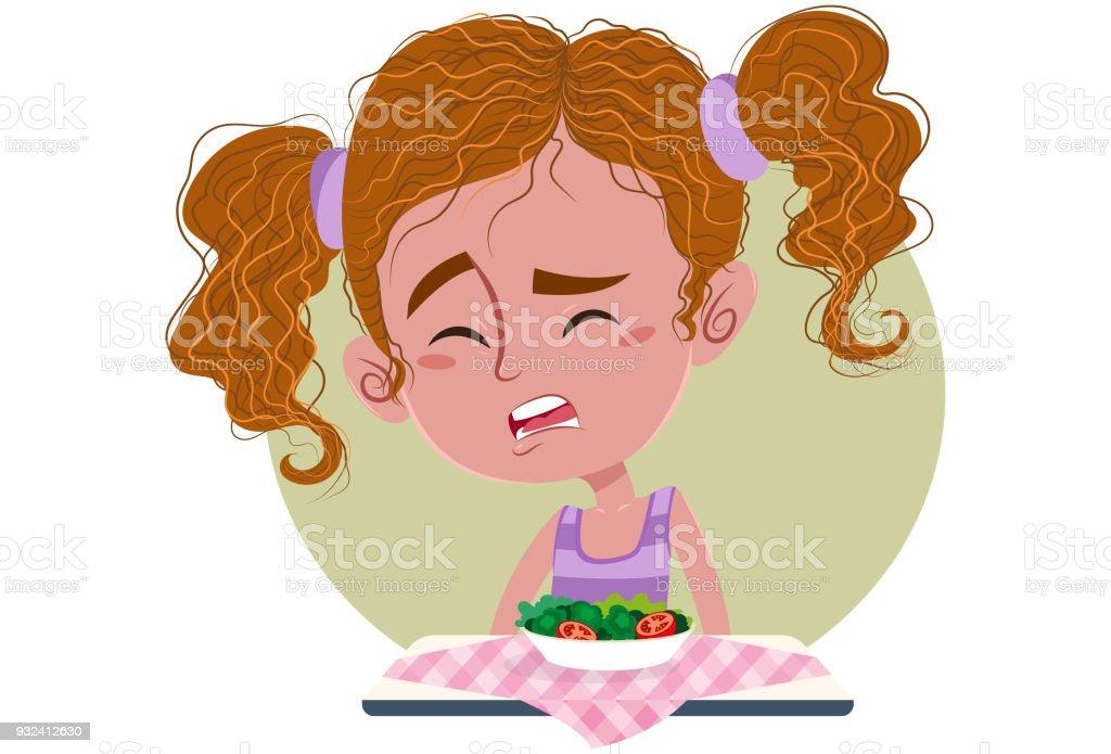 Menina não quer comer vegetais vector art illustration