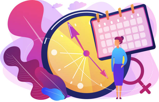 Menopause concept vector illustration. Menopause woman standing at her biological clock measuring age and calendar. Menopause, women climacteric, hormone replacement therapy concept. Bright vibrant violet vector isolated illustration styles stock illustrations