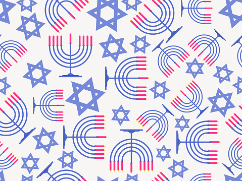 Menorah and Star of David seamless pattern. Hanukkah nine candles. Jewish festival greeting card. Vector illustration
