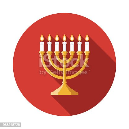 A flat design styled Hanukkah celebrations icon with a long side shadow. Color swatches are global so it's easy to edit and change the colors.