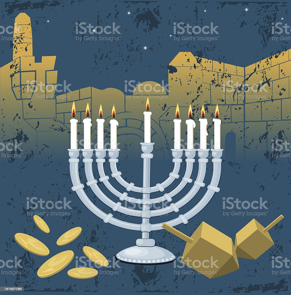 Menorah, Hanukkah, Jerusalem, Dreidel, Gelt vector art illustration
