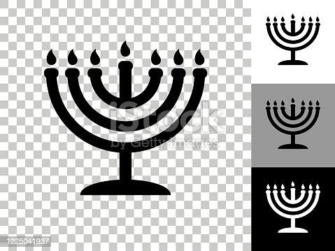 istock Menorah Icon on Checkerboard Transparent Background 1225041937