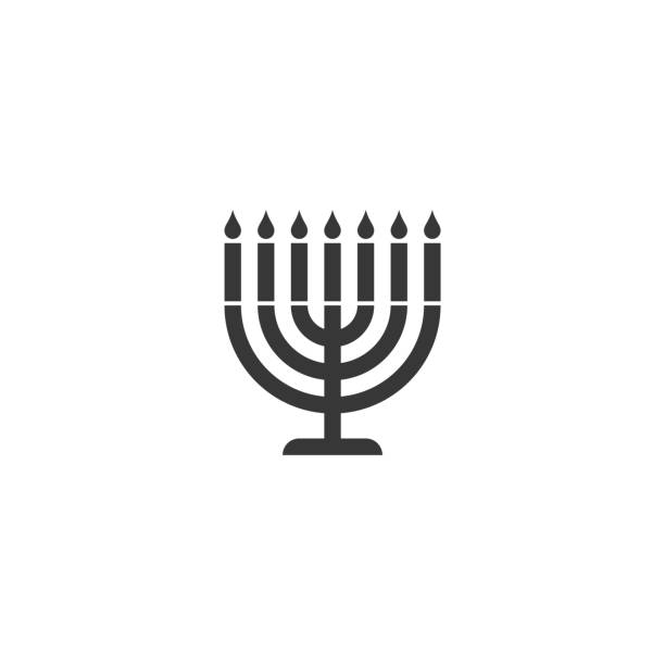 menorah silhouette icon menorah silhouette icon candlestick holder stock illustrations