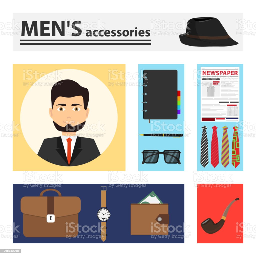 Men's accessories, a set of men's accessories. royalty-free mens accessories a set of mens accessories stock illustration - download image now