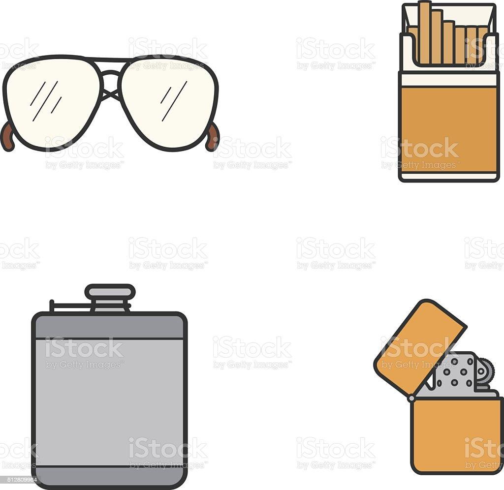 Men's accessories icons vector art illustration