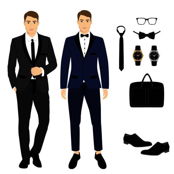 ilustrações de stock, clip art, desenhos animados e ícones de men's accessories. the groom. - smoking