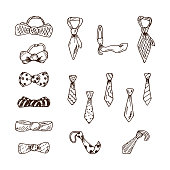 Men's Accessories. Vector Set of  Neck ties, Bow Ties