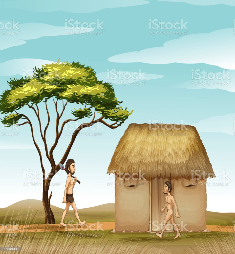 Mens and a house vector art illustration