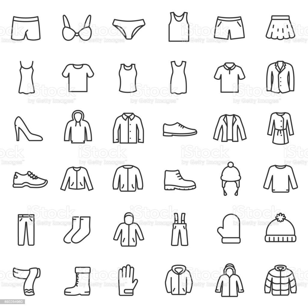 Herren- und Damenbekleidung für verschiedene Jahreszeiten, Icons Set. Linie mit editierbaren Schlaganfall – Vektorgrafik