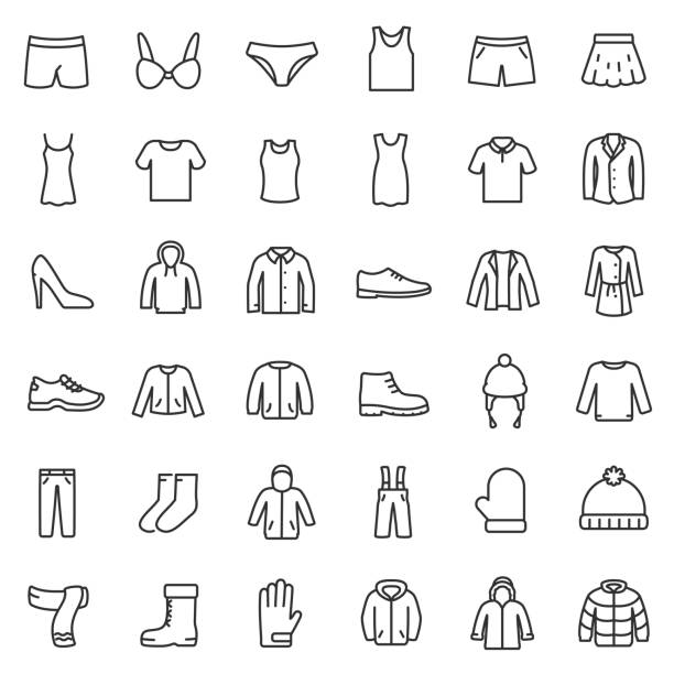 men's and women's clothing for different seasons, icons set. line with editable stroke - shoes fashion stock illustrations, clip art, cartoons, & icons