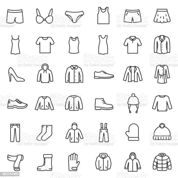 men's and women's clothing for different seasons set.