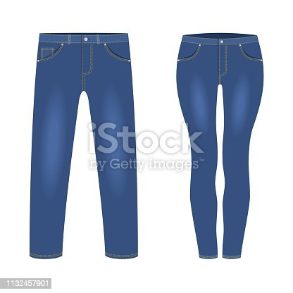 Men's and women's dark blue denim jeans pants isolated on white background. Trendy fashion denim casual clothes, jeans outfit garments models. Vector illustration