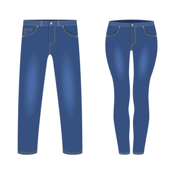 ilustrações, clipart, desenhos animados e ícones de calças jeans azuis escuras dos homens e das mulheres isoladas no fundo branco. trendy moda denim roupas casuais, jeans roupa vestuário modelos. ilustração do vetor - calça comprida
