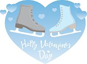 """Men's and women's ice skates, turned to each other on a background of blue hearts and the letters """"Valentine's Day"""". Winter active games, color vector, isolated."""