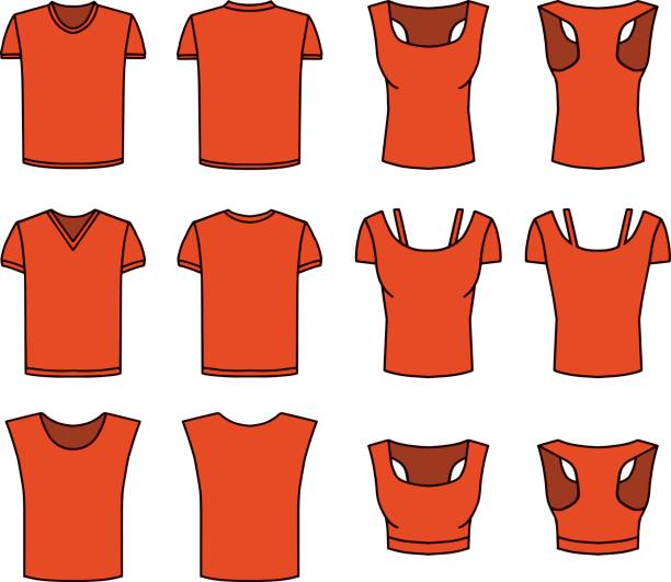 Men's and Women's Red T-shirts Vector Men's and Women's red T-shirts. Front and rear view. Male and female objects in different layers. The color changes easily. corset stock illustrations