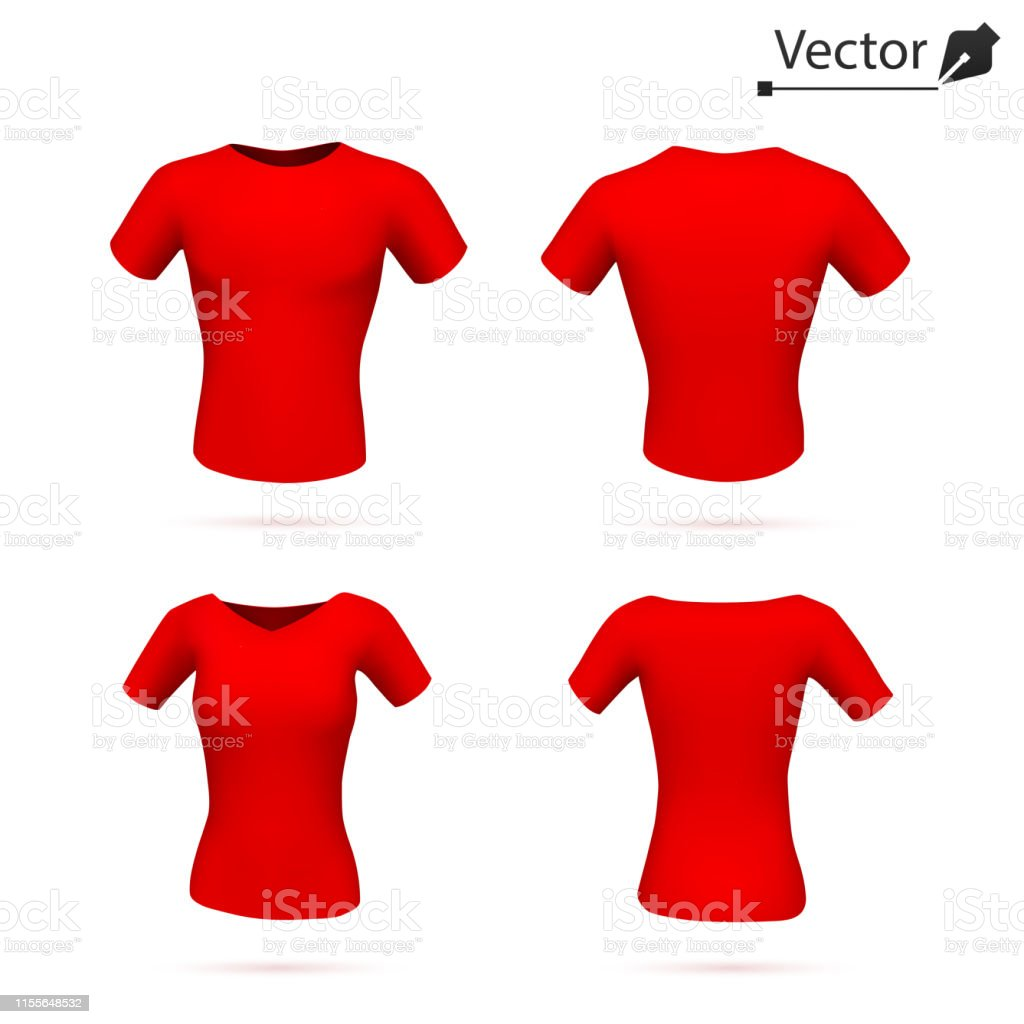 Mens And Womens Red Tshirts Vector Template Art Design Blank