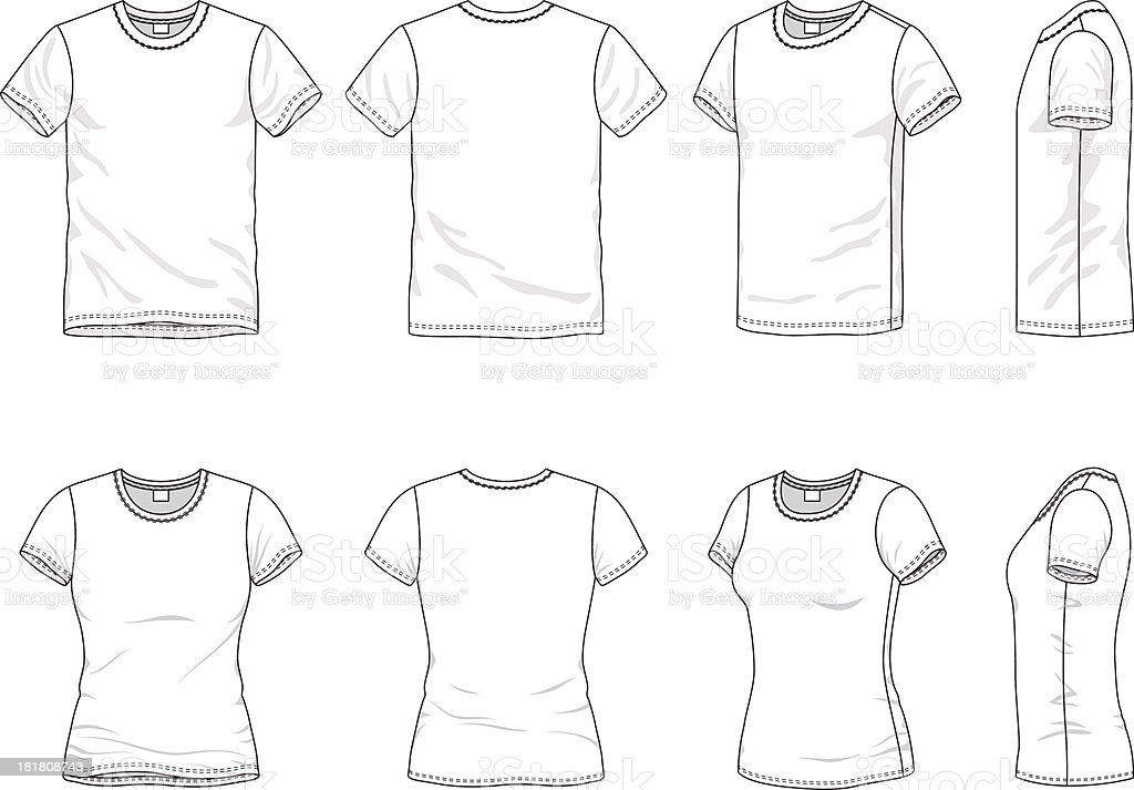 Men's and Women's t-shirt vector art illustration