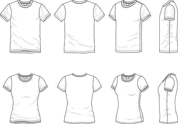 stockillustraties, clipart, cartoons en iconen met men's and women's t-shirt - korte mouwen