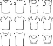 Vector pattern of Men's and Women's T-shirts. Front and rear view. Male and female objects in different layers.