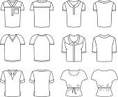 Vector Men's and Women's T-shirts. Front and rear view. Male and female objects in different layers. The color changes easily.