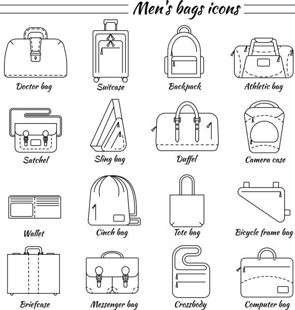 16 männer taschen icons set - laptoptaschen stock-grafiken, -clipart, -cartoons und -symbole