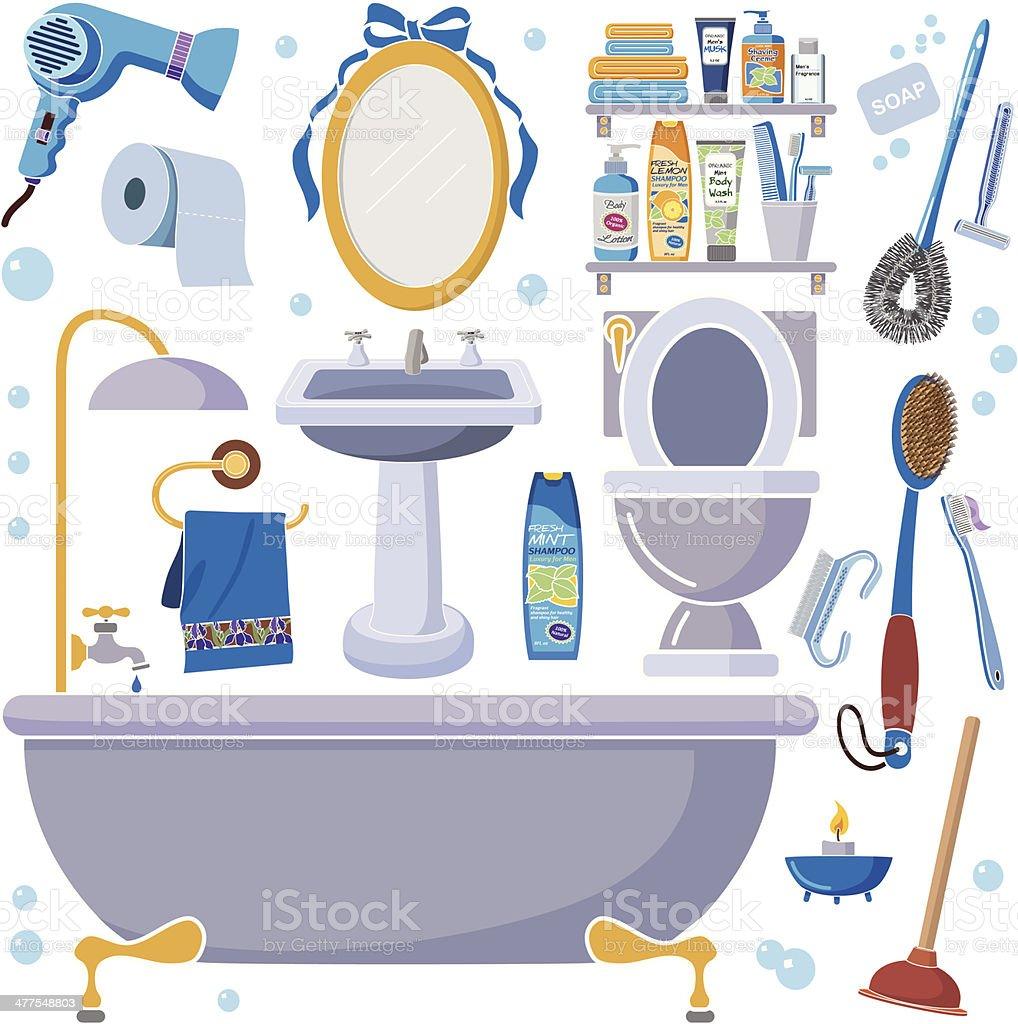 men's bathroom design elements royalty-free stock vector art