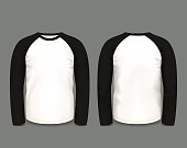 Men's black raglan sweatshirt long sleeve. Vector template.