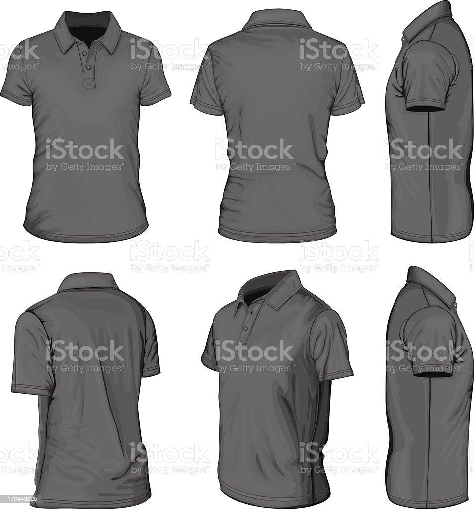 Men's black short sleeve polo-shirt vector art illustration