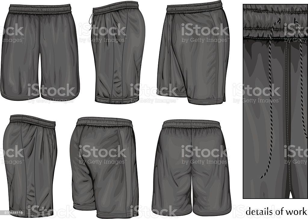 Men's black sport shorts. vector art illustration