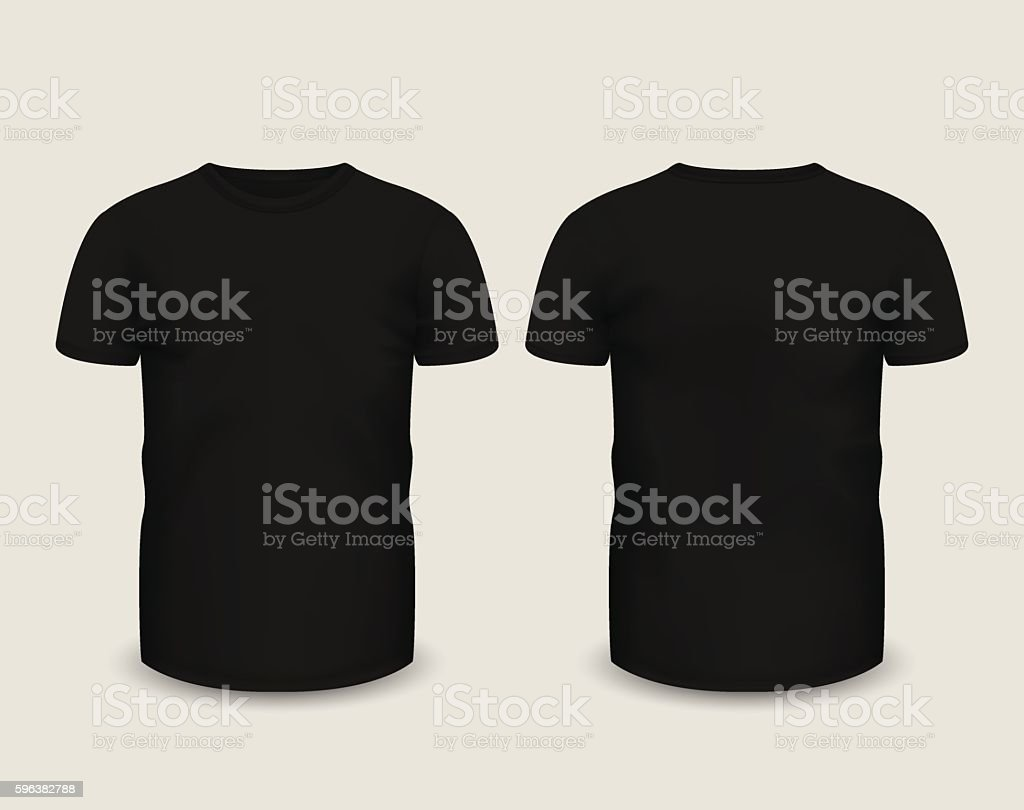 Men's black t-shirt short sleeve. Vector template. vector art illustration