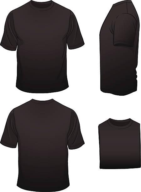 stockillustraties, clipart, cartoons en iconen met men's blank black t-shirt in four views - korte mouwen