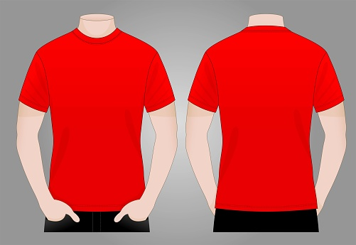 Men's Blank Red T-Shirt Vector For Template