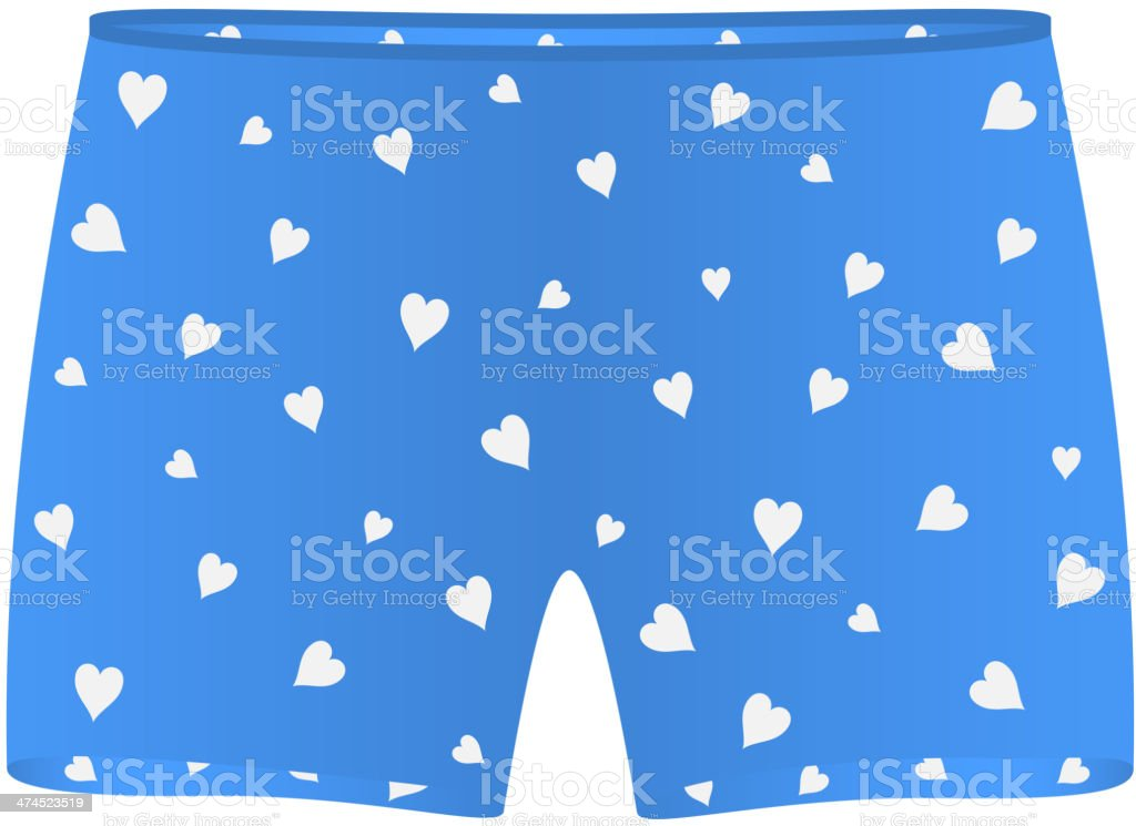 Mens boxer shorts with white hearts vector art illustration
