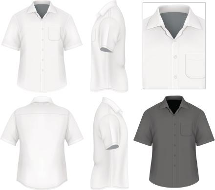 Men's button down shirt design template