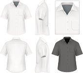Photo-realistic vector illustration. Men's button down shirt design template (front view, back and side views).