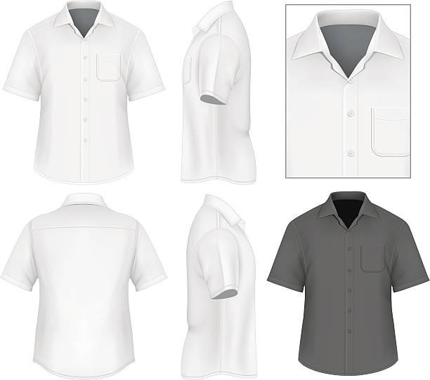男性のボタンダウンシャツデザインテンプレート - 襟付きシャツ点のイラスト素材/クリップアート素材/マンガ素材/アイコン素材