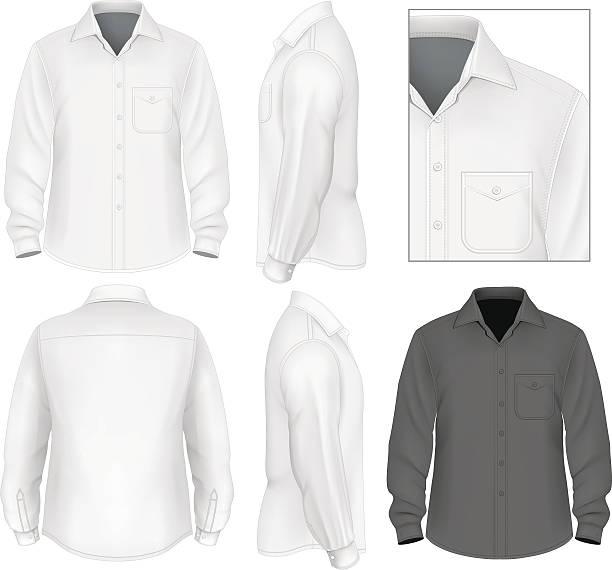 stockillustraties, clipart, cartoons en iconen met men's button down shirt long sleeve - korte mouwen