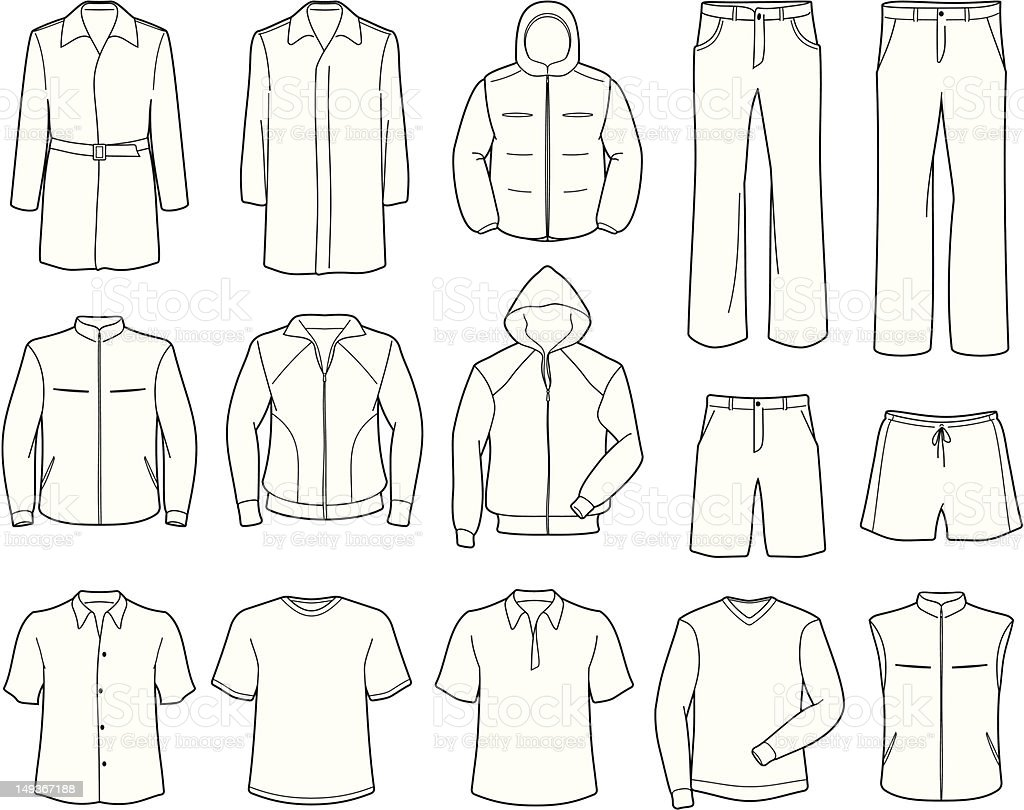 Mens casual clothes and sportswear vector illustration vector art illustration