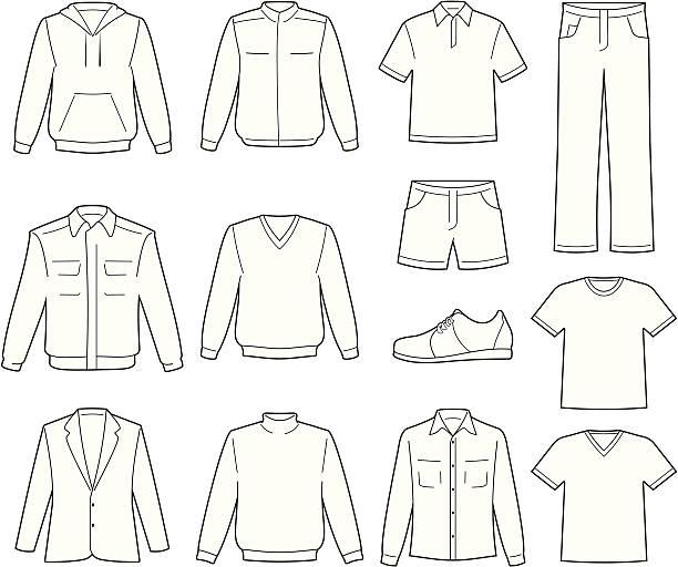 stockillustraties, clipart, cartoons en iconen met men's casual clothes illustration - men blazer