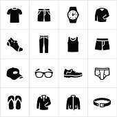 Casual cloths icons for men. All white strokes/shapes are cut from the icons and merged allowing the background to show through. File type - EPS 10.