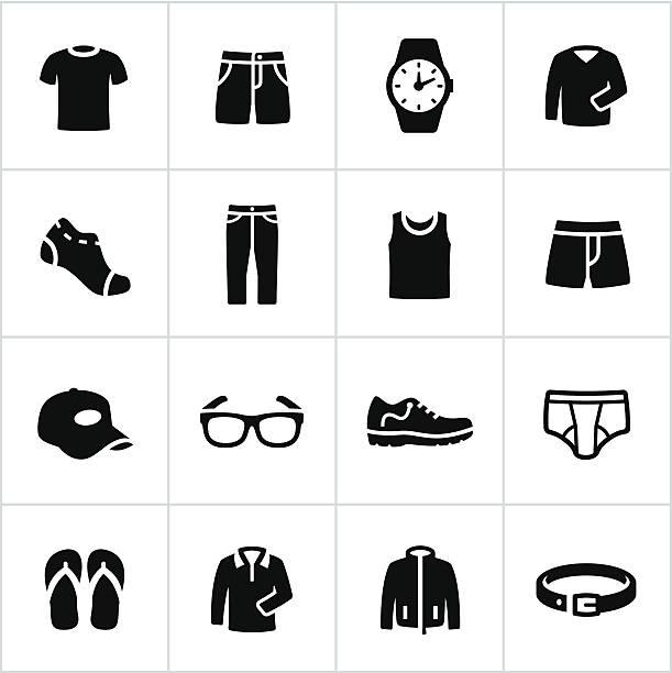 mens na co dzień ikony - odzież stock illustrations