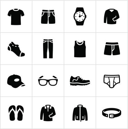 Mens Casual Wear Icons-vektorgrafik och fler bilder på Avkoppling