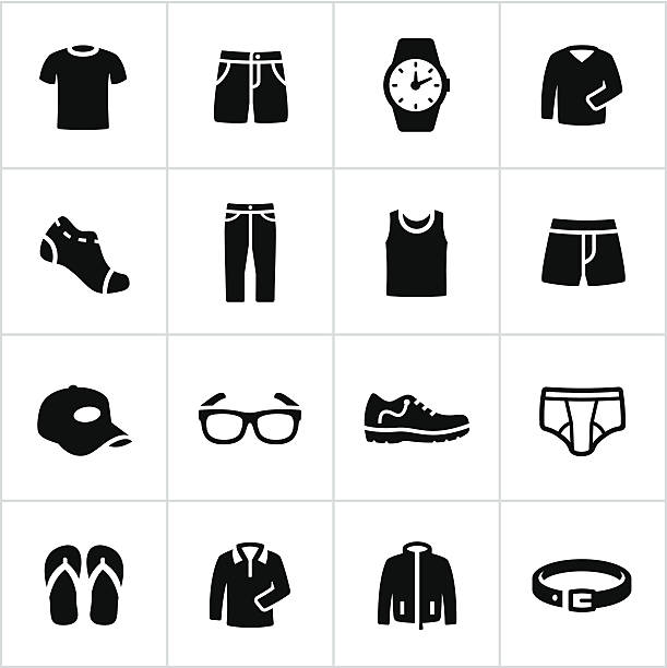 mens casual wear icons - shoes fashion stock illustrations, clip art, cartoons, & icons
