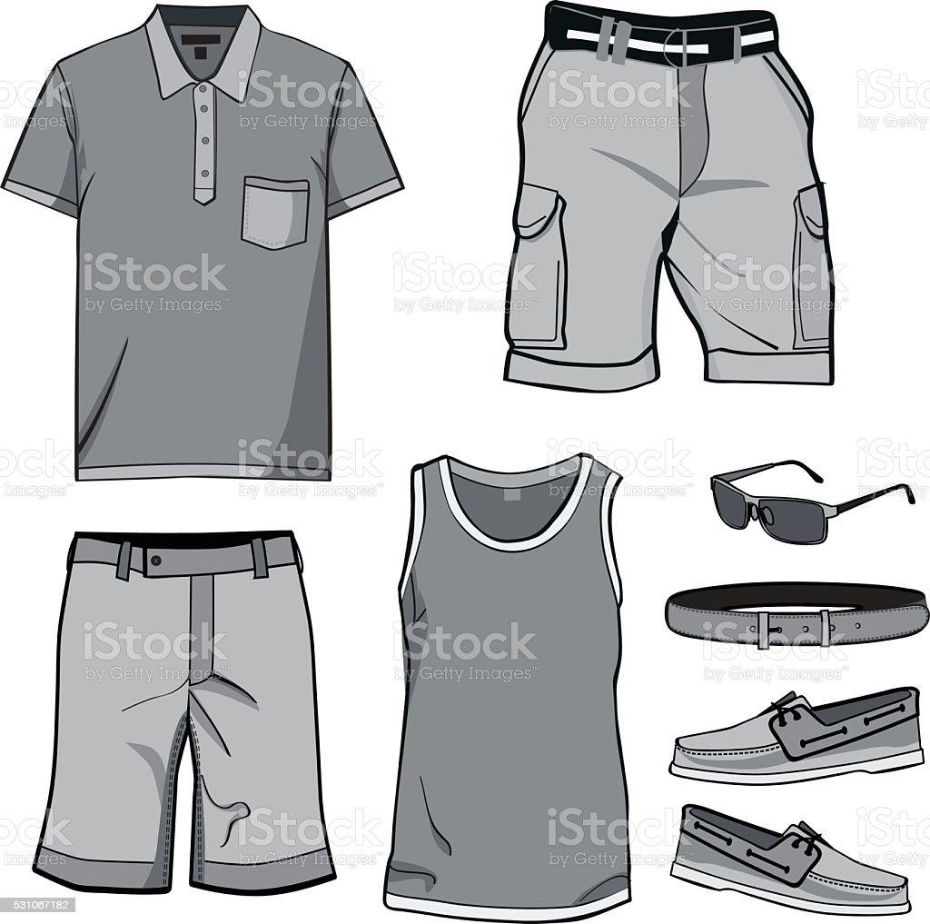 Men's clothes and summer accessories. vector art illustration