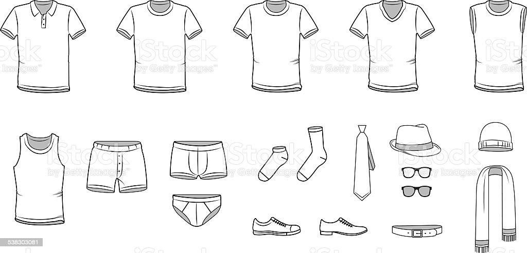 Men's clothes, Garment illustration, Underwear, Accessories, vector vector art illustration