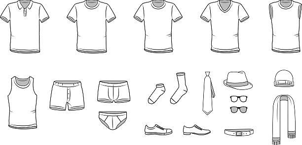illustrations, cliparts, dessins animés et icônes de vêtements hommes, vêtements, sous-vêtements et accessoires d'illustrations vectorielles - homme slip