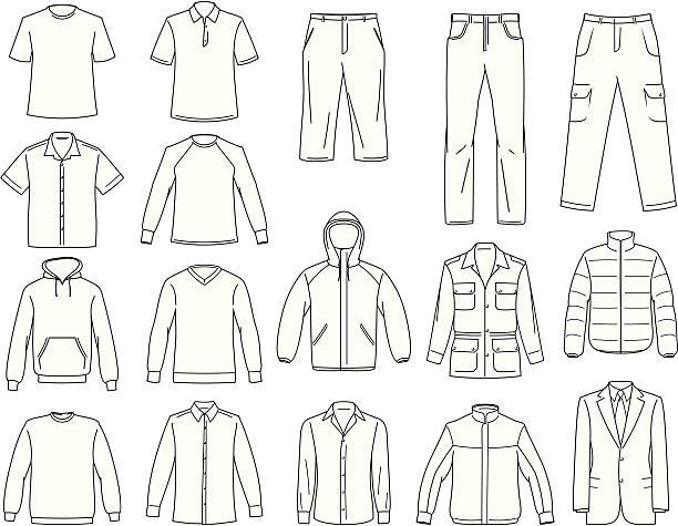 ilustrações, clipart, desenhos animados e ícones de roupas masculinas ilustração - calça comprida